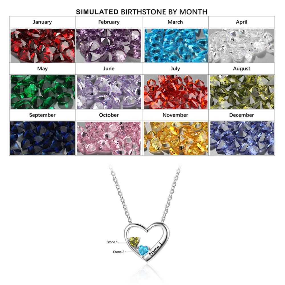 Personalized Birthstone Silver Necklace cenjsjqpp