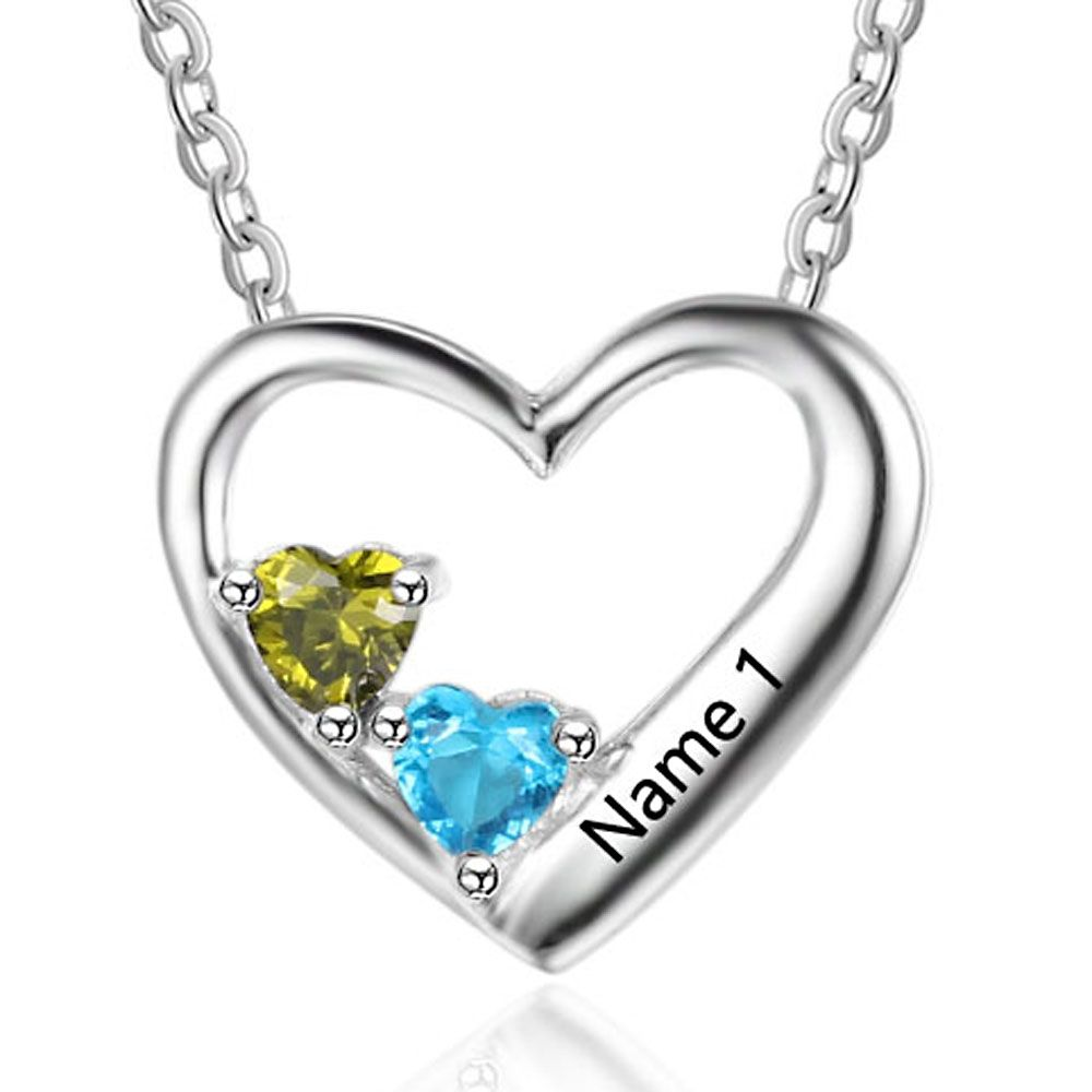 Personalized Birthstone Silver Necklace  - cenjsjqpp