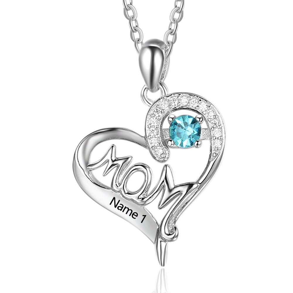 Personalized Birthstone Silver Necklace - cenjsjqrn