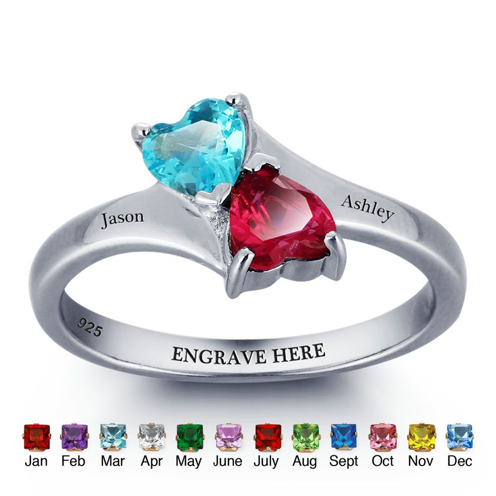engraved & BirthStone Personalized Silver Ring #nirgpgmno