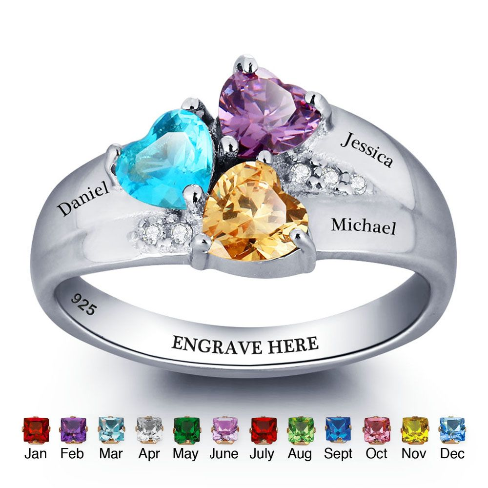 Personalised Engraved & Birth Stone Silver Ring - nirgpgmoi