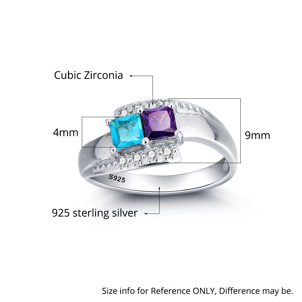 Personalized birthstone 925 Sterling silver Family Ring - nirgpgoll