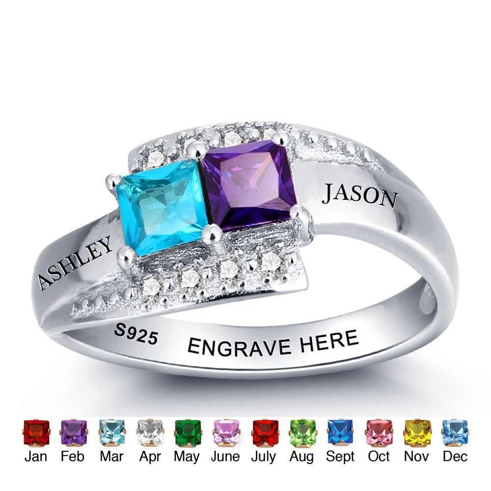 personalized birthstone 925 Sterling silver family ring #nirgpgoll