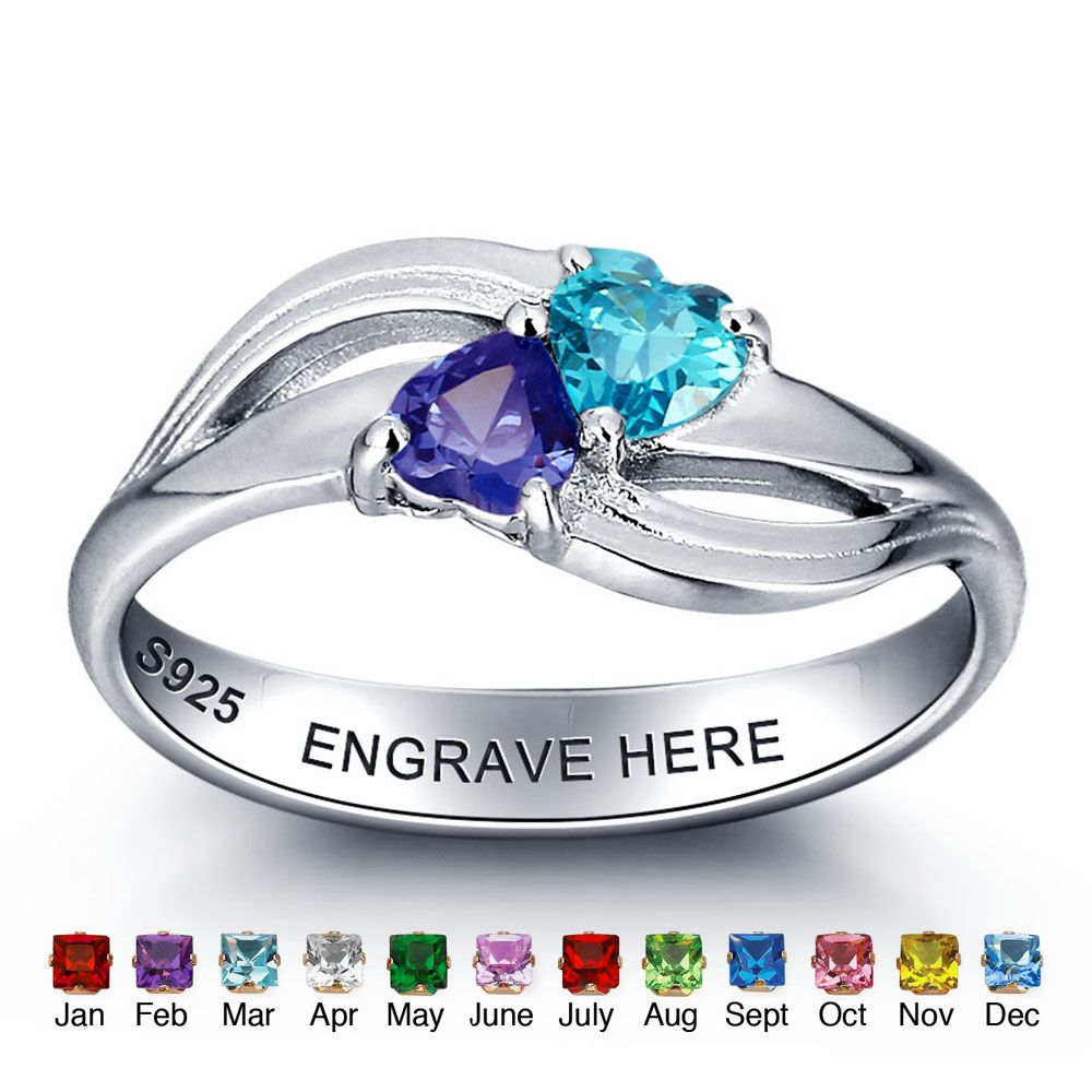 925 sterling silver ring around two hearts#nirgpgomj