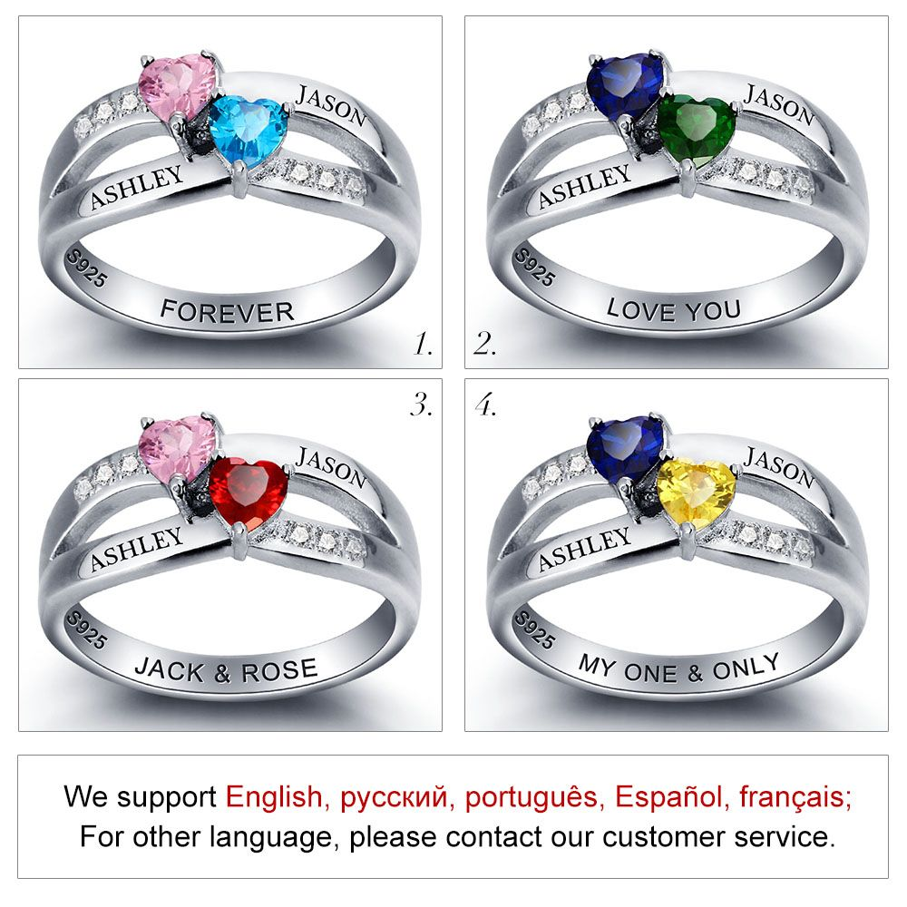 Personalized Birthstone 925 Sterling Silver Promise Ring #nirgphppp