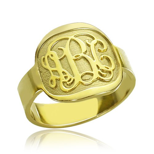 Personalized 925 Sterling Silver Monogram Ring - nirgphhij