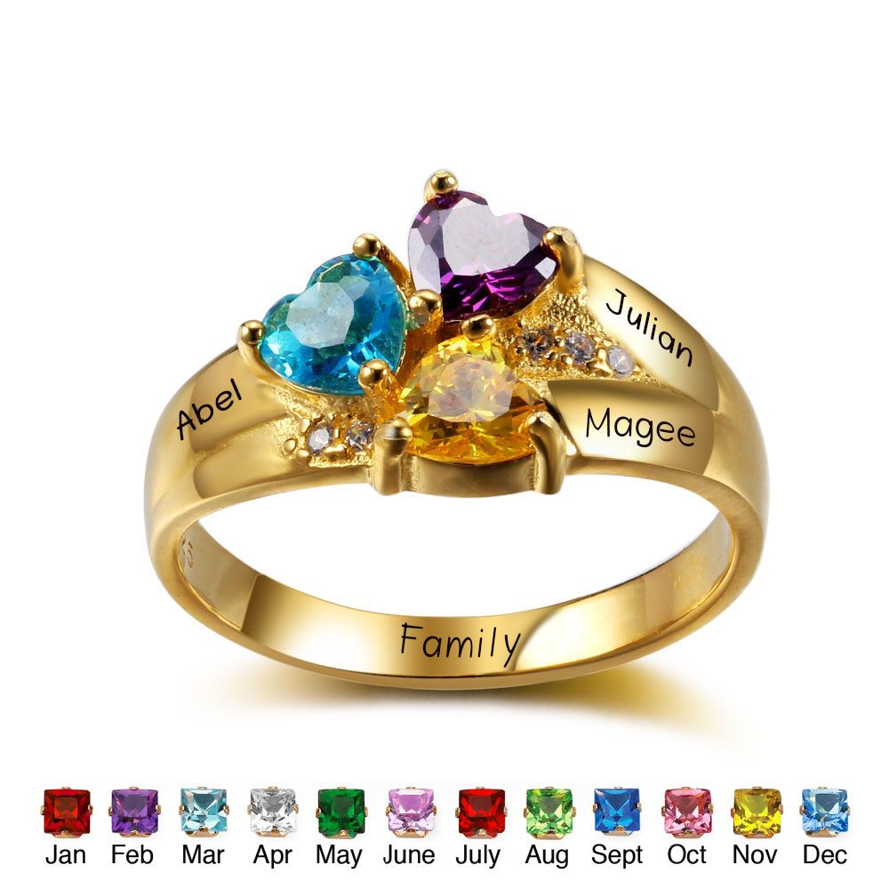 Engrave & BirthStone Personalized Silver Ring#RI102344