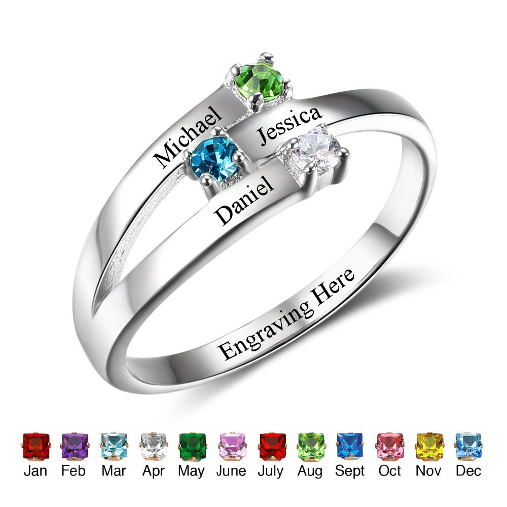 Birthstone & Engraved Sterling Silver Ring#RI102505