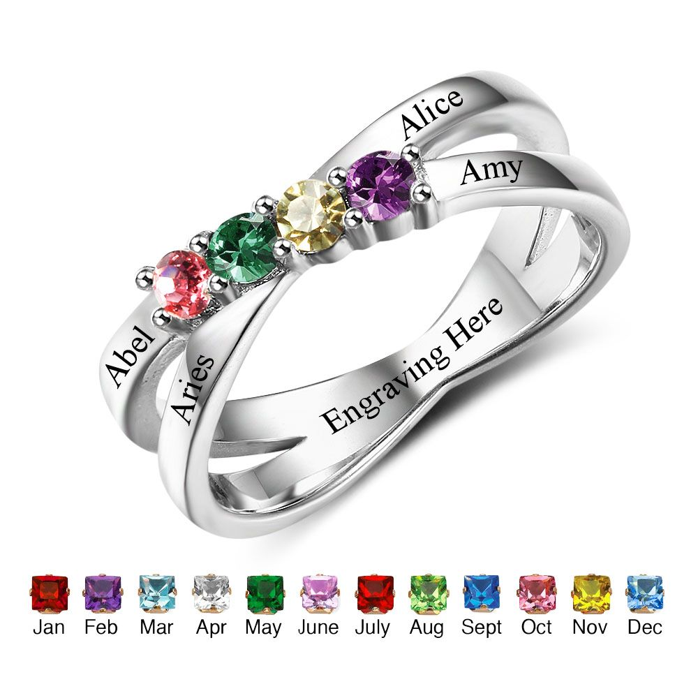 Birthstone & Engraved Sterling Silver Ring#nirgphkpo