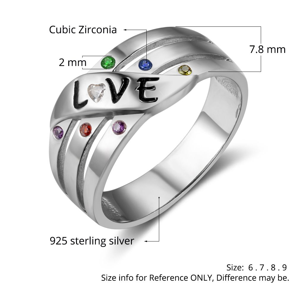 Birthstone & Engraved Sterling Silver Ring #nirgphmhg