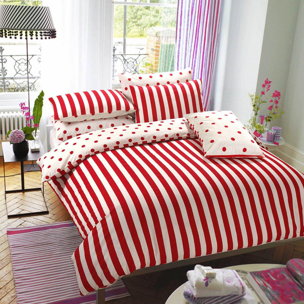 Red Stripe Reversible Bedding Digital Print Duvet Covers