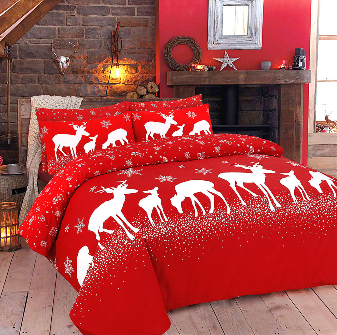 cover deer set products covers festive duvet white bed bedding christmas