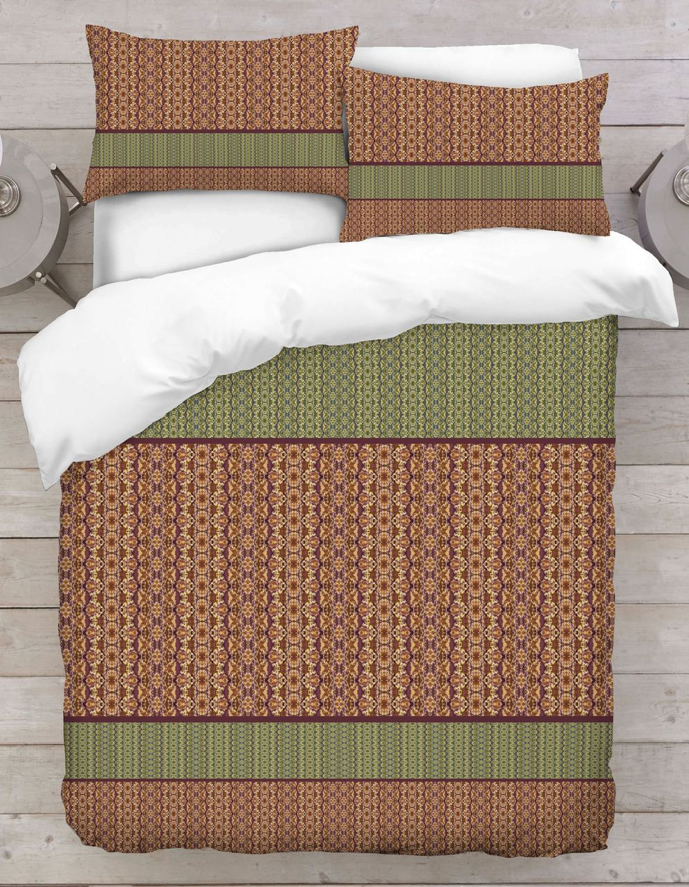 Green With Brown Abstract Fl Duvet Cover