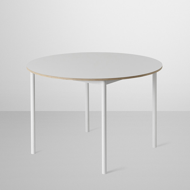 Muuto Base Round Table in White laminate / Plywood edges