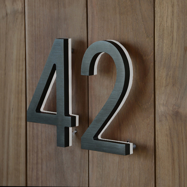 "Luxello  |  Modern LED Bronze House Number 5"" Outdoor"