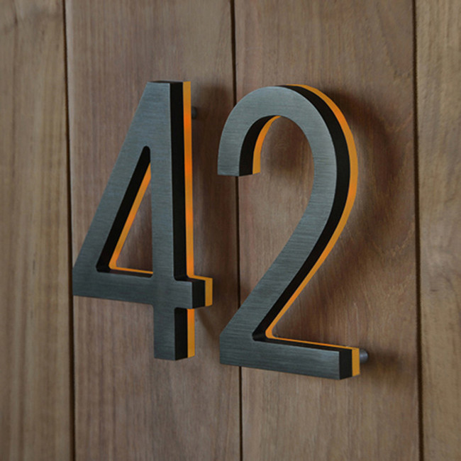 Luxello  |  Bronze House Number With Amber LED 5""
