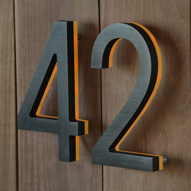 Luxello  |  Bronze House Number With Amber LED 8""