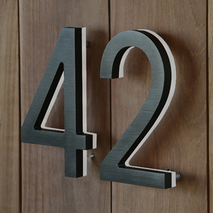 Luxello Modern LED Bronze House Number Outdoor Surrounding - Cheap metal house numbers