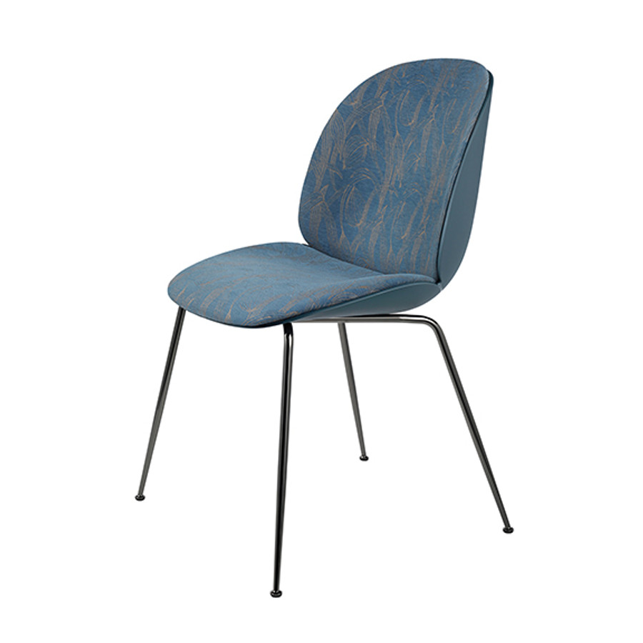 Gubi Beetle Chair Conic Front Upholstered in Jardin MC397B05 seat/blue grey shell