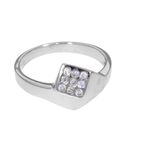 Sterling silver Farrier's Nail Ring  Crossover design with Swarovski crystal set head