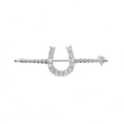 Barley Twist Stock Pin in Sterling Silver and Swarovski Crystals