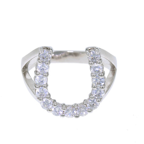 Sterling silver Horseshoe Ring With Swarovski crystals