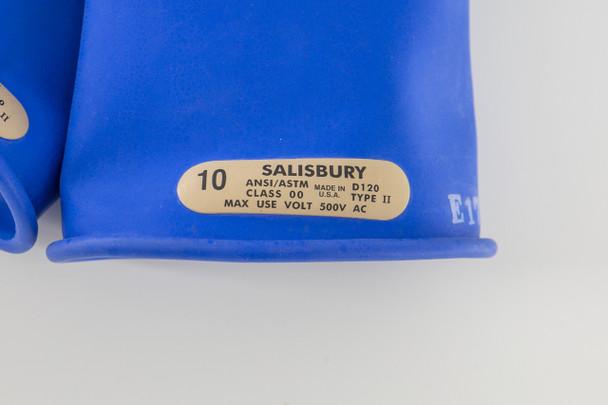 "Class 00 Gloves 11"" Length 500 VAC Salisbury E0011BL Blue EPDM Rubber Gloves"
