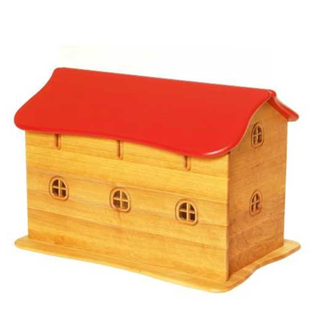 wooden barn with red roof