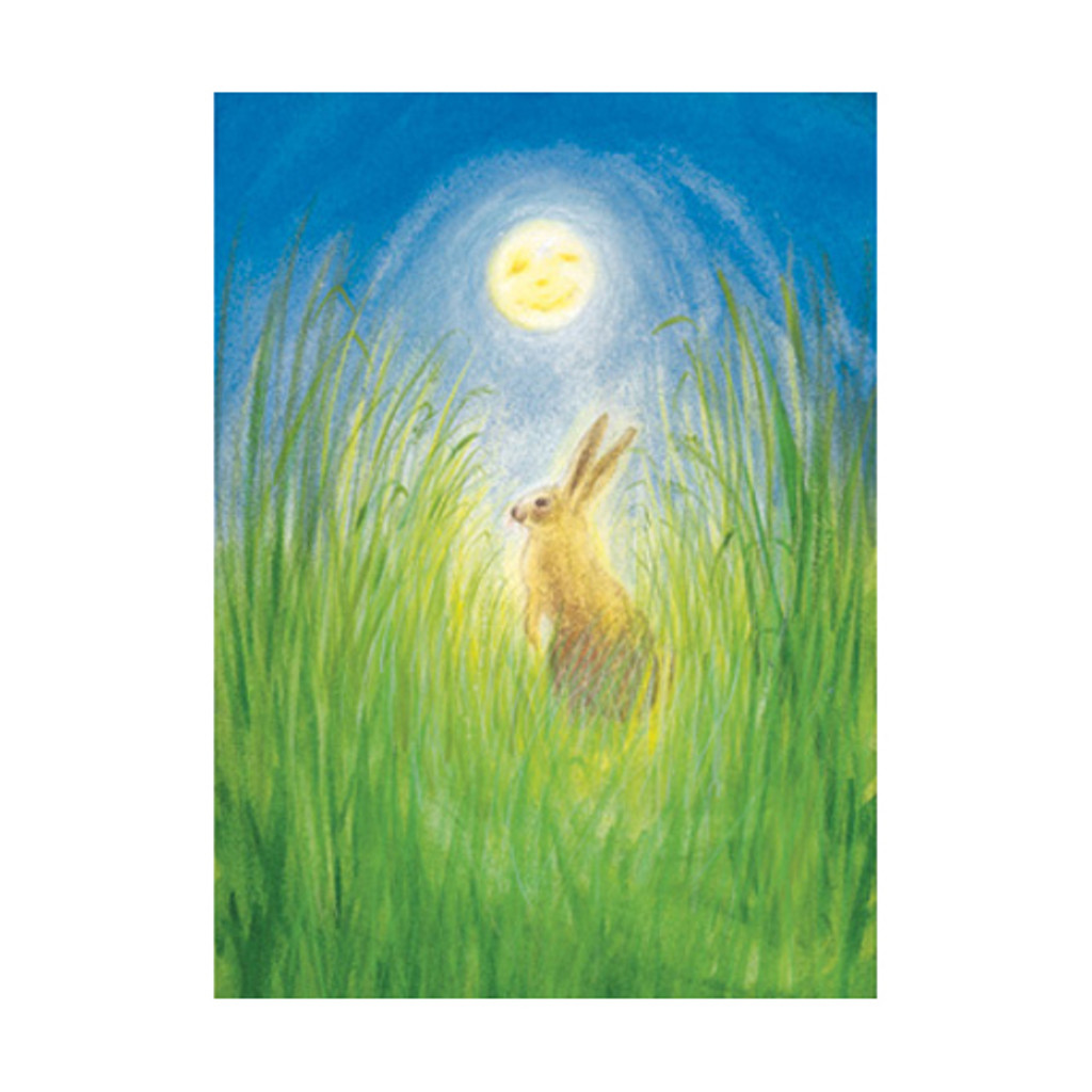 Hare and Moon postcard by M. v. Zeyl
