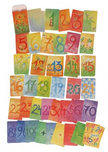 watercolour number cards, supplementary kid