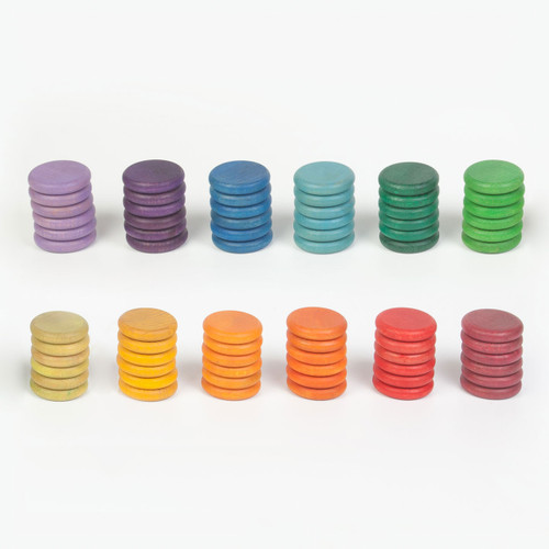 Grapat Wood Coloured Coins, 72 pc (12 colours)