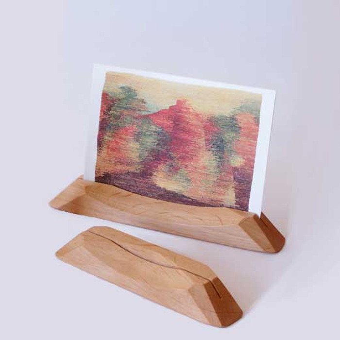 natural wooden postcard holder