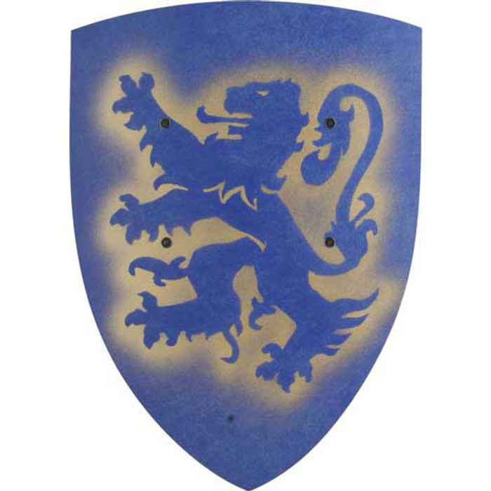 lion shield, blue