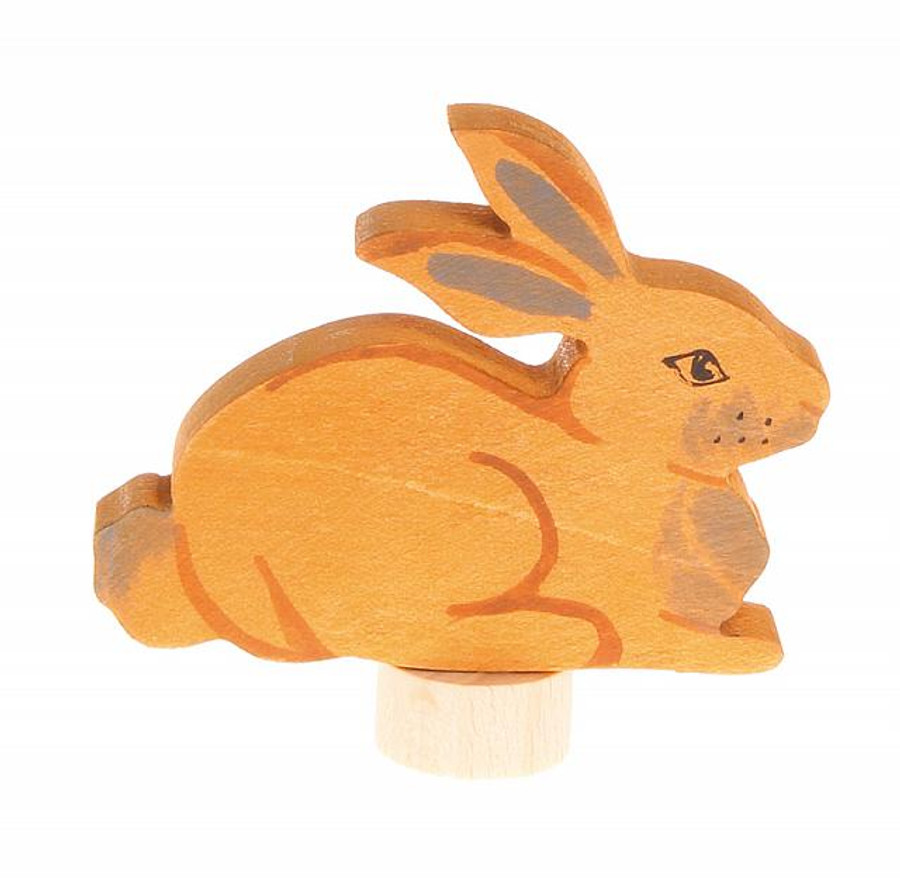 Grimm's handcoloured sitting rabbit ornament for birthday ring and celebration holders.