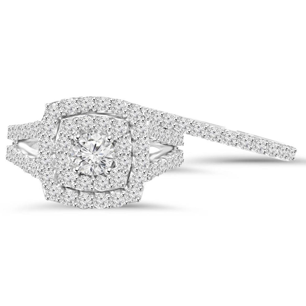 2 Cttw Diamond Cushion Double Halo Engagement Wedding Ring Set 10k White  Gold (I J, I1 I2)