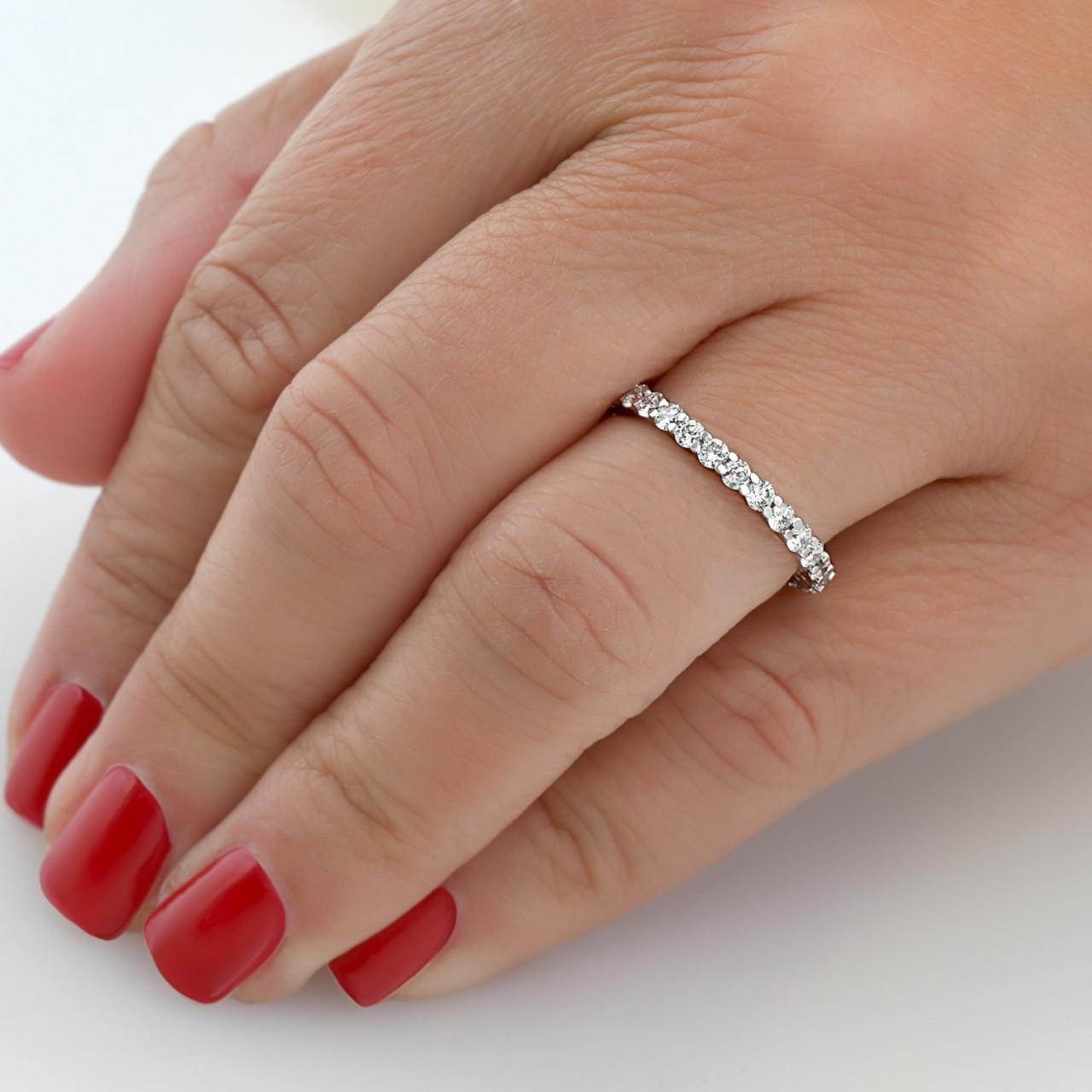 1ct Diamond Eternity Wedding Ring in 14k White Yellow Rose Gold