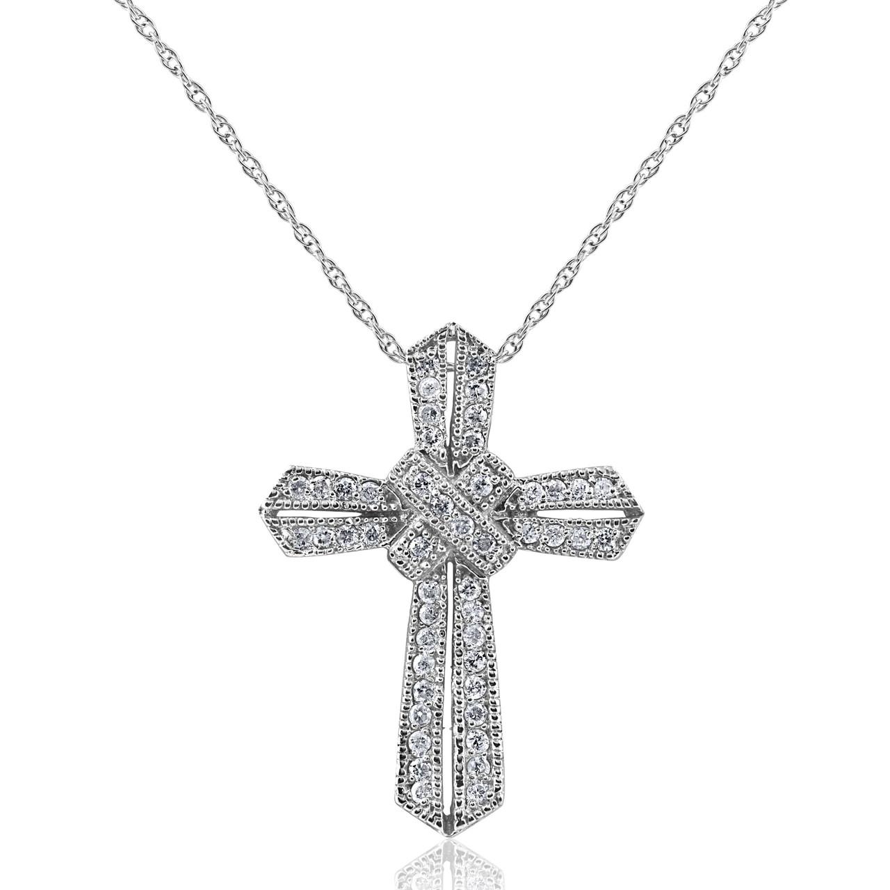 12ct vintage pave diamond cross pendant 14k white gold 12ct vintage pave diamond cross pendant 14k white gold gh i2 aloadofball Gallery