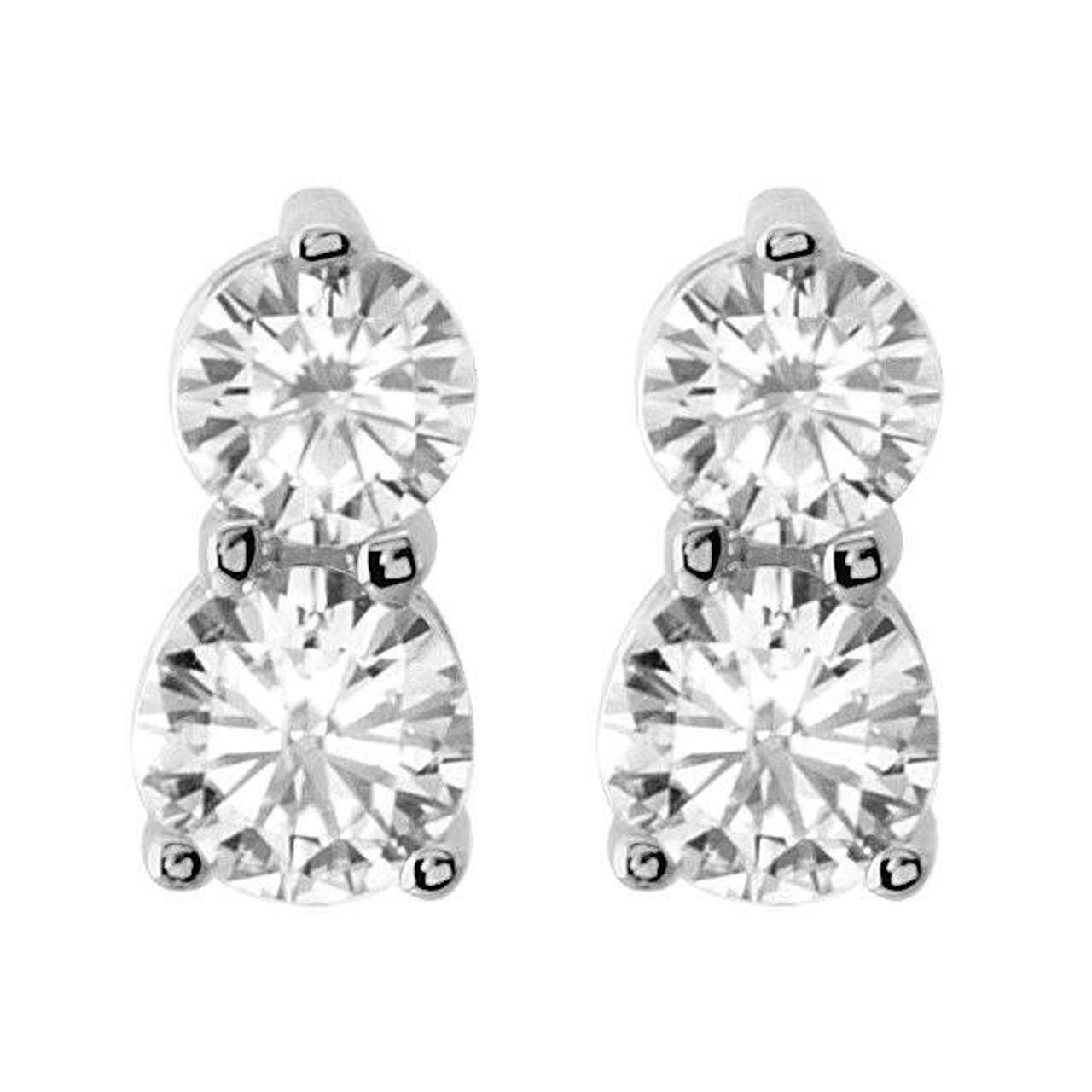 60ct Forever Us Two Stone Diamond Studs Womens Earrings 14k White Gold G H I1