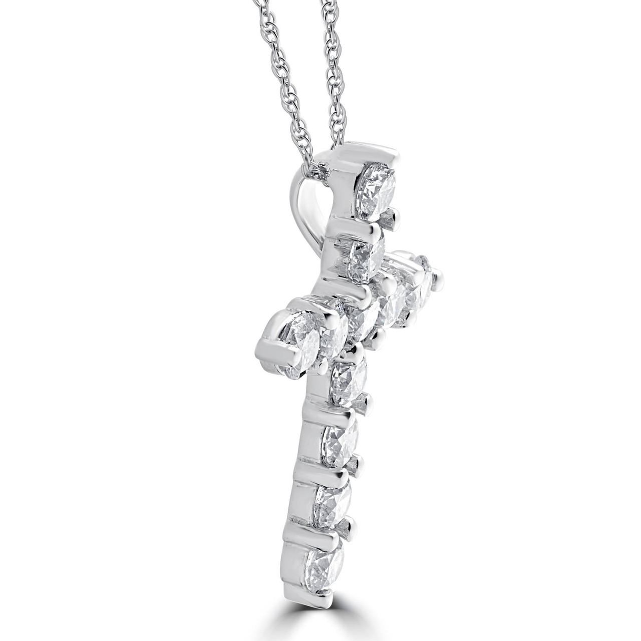 300ct diamond cross pendant 18k white gold womens round brilliant 300ct diamond cross pendant 18k white gold womens round brilliant cut 18 chain f vs aloadofball Image collections