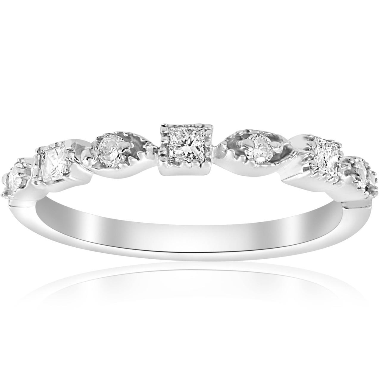 1 5ct Princess Cut Diamond Stackable Vintage Wedding Band 14k White