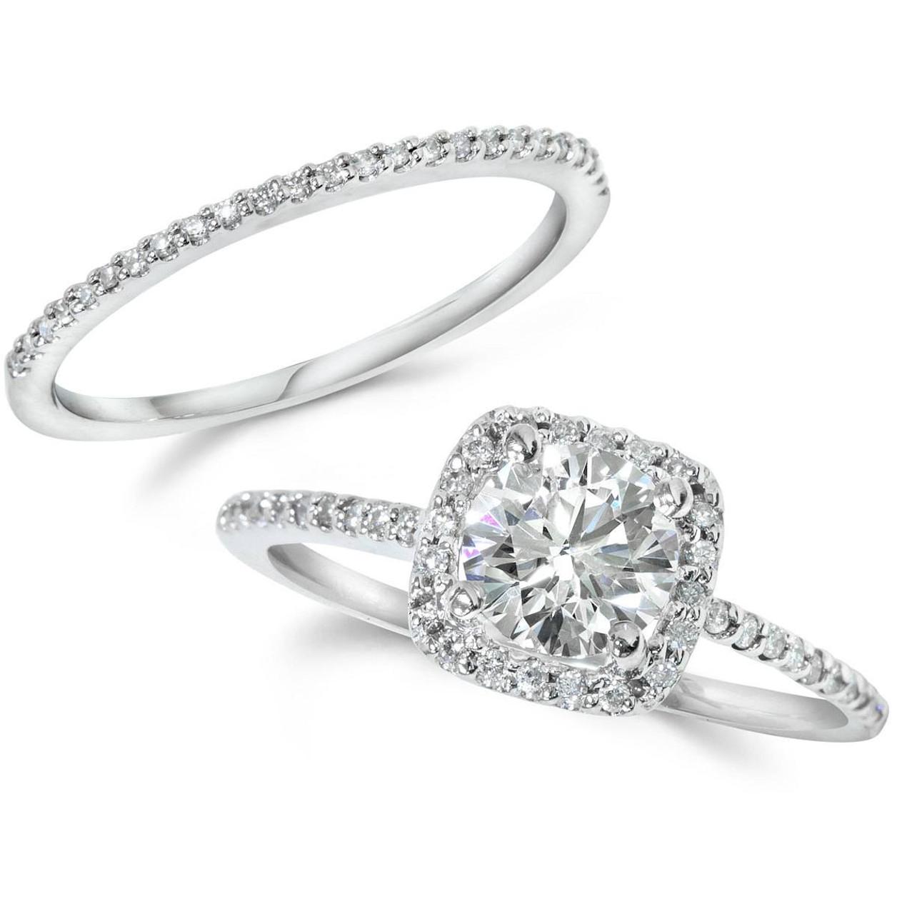 1CT Diamond Engagement Ring Cushion Halo Wedding Ring Set 14K White Gold  (H I, I1)