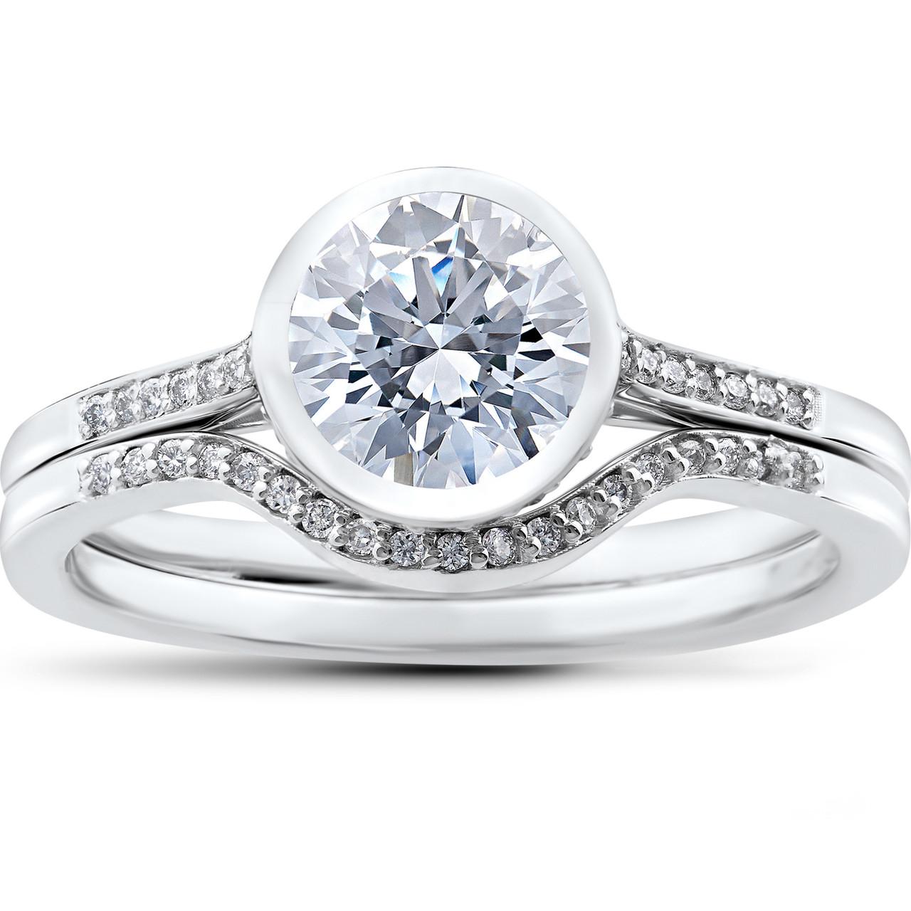 1 1 5 Ct Lab Grown Diamond Engagement Ring Set White Gold Igi
