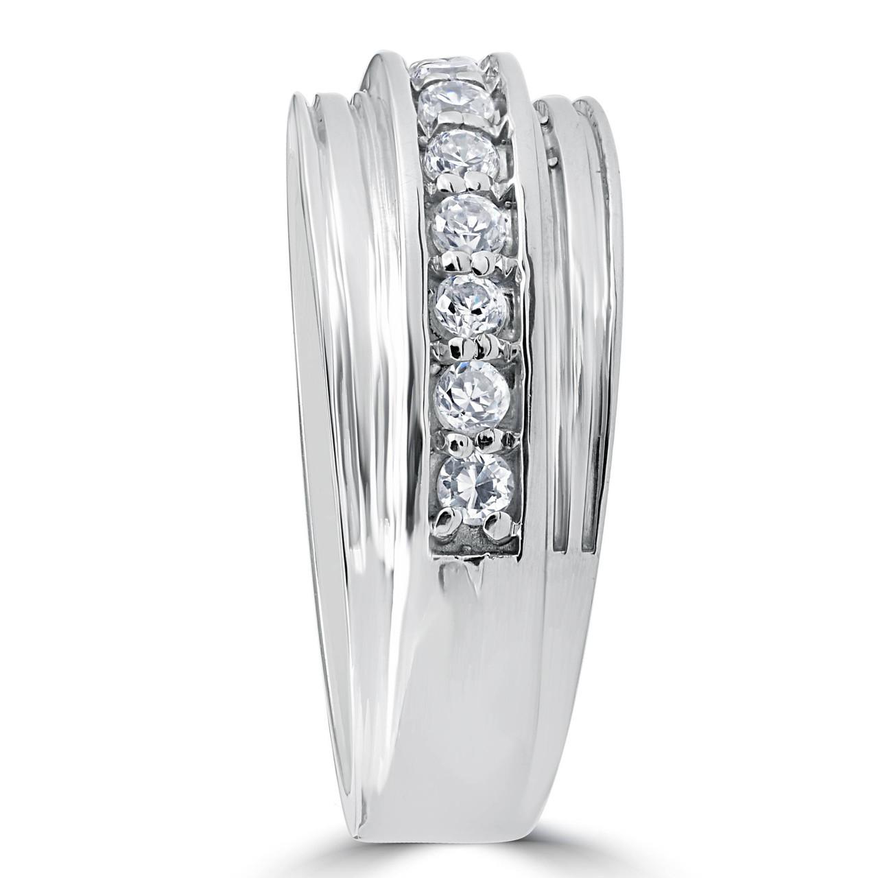 12 Carat Mens Diamond Wedding Ring 10K White Gold