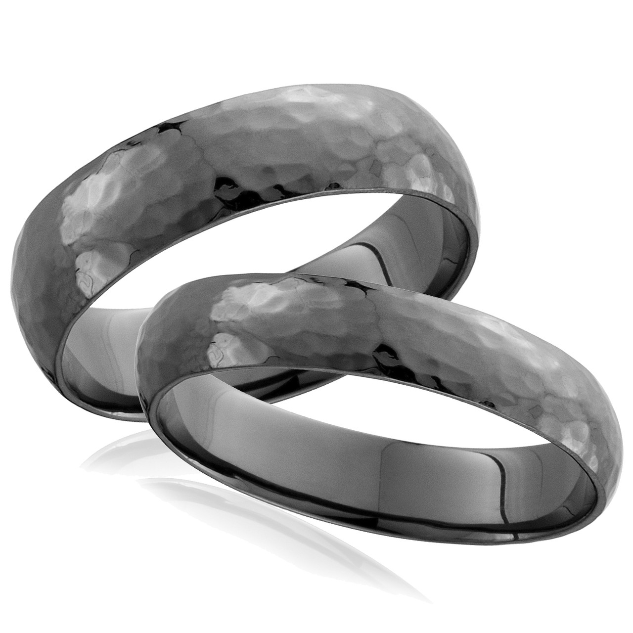 His Hers Black Gold Hammered Wedding Band Set