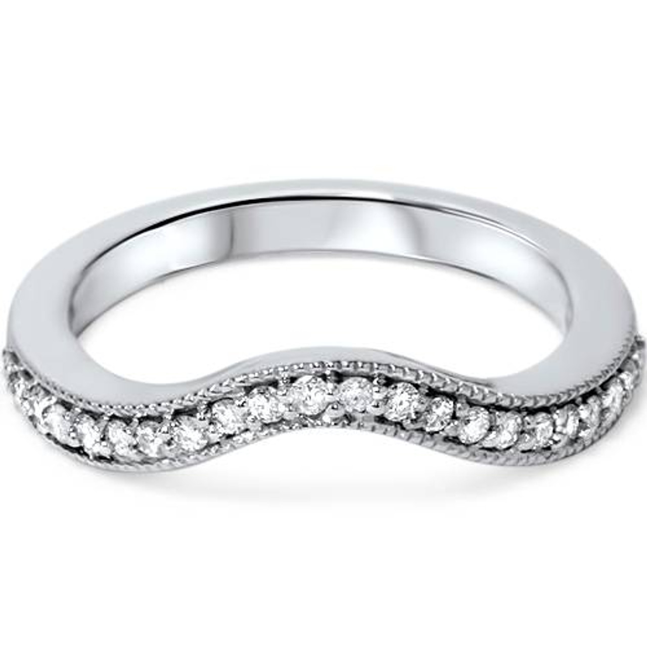 1 5ct Curved Diamond Wedding Band 14k White Gold G H I1 I2