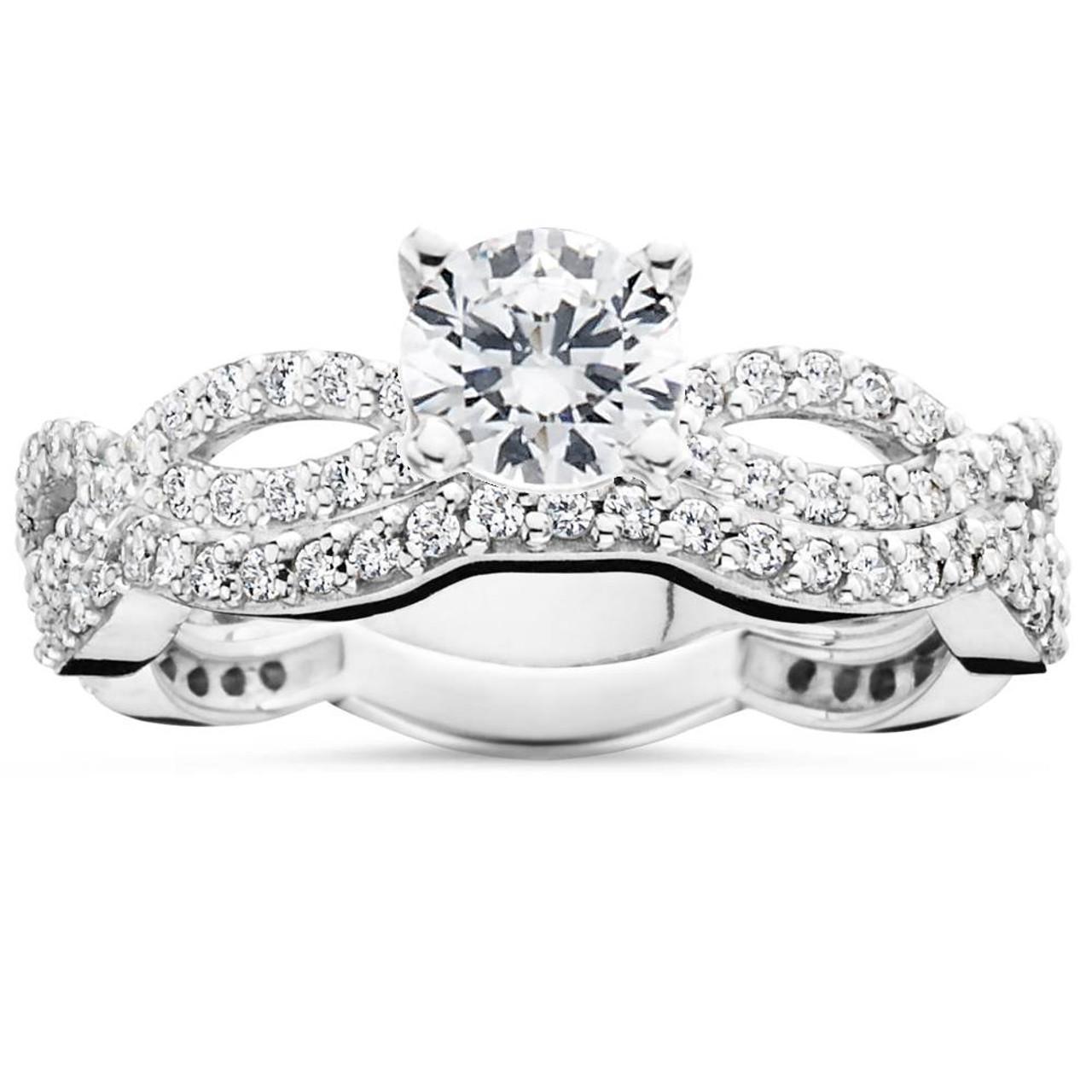 1ct Pave Natural Diamond Engagement Infinity Wedding Ring Set 14K ...