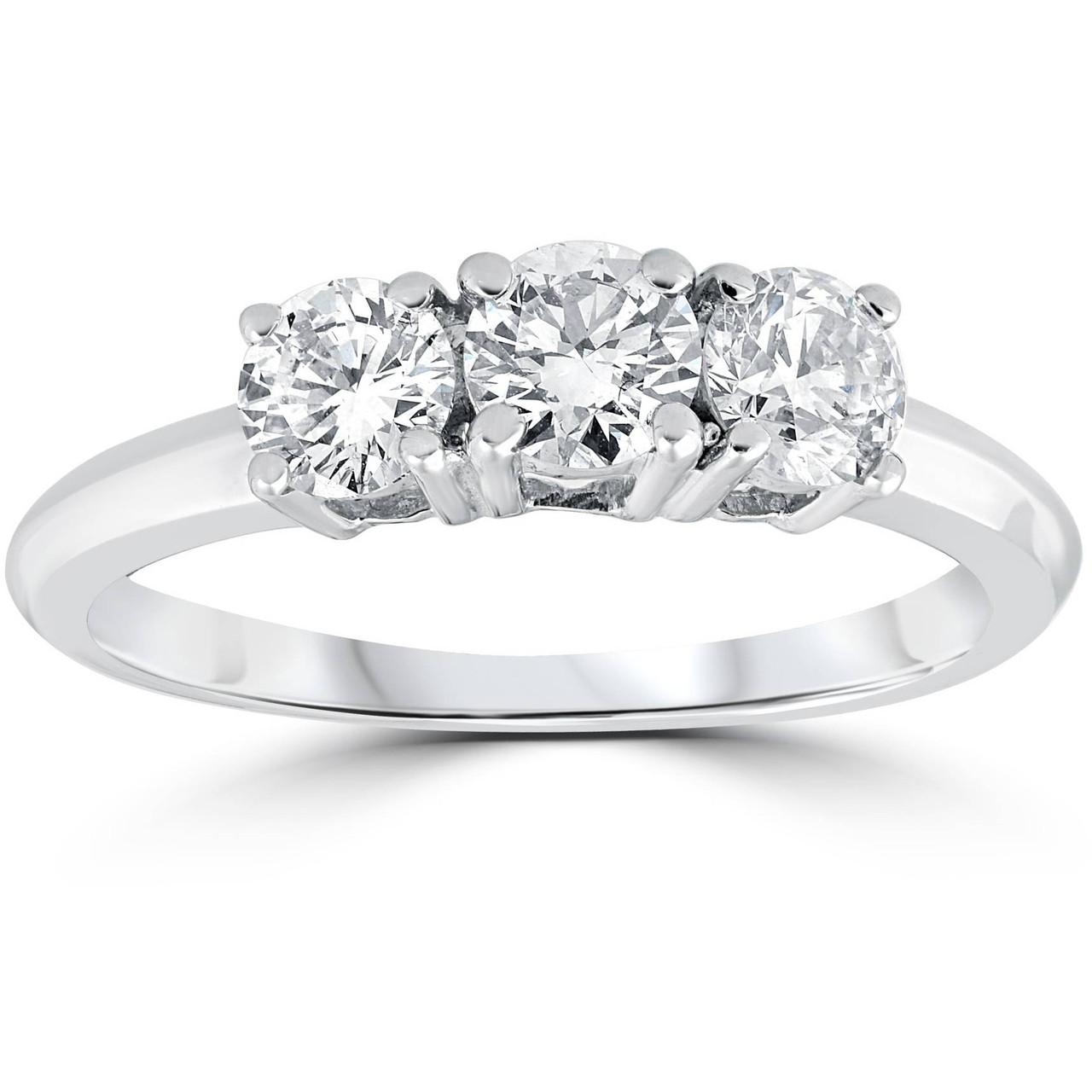 1 Carat 3 Stone Diamond Engagement Ring Solitaire Round