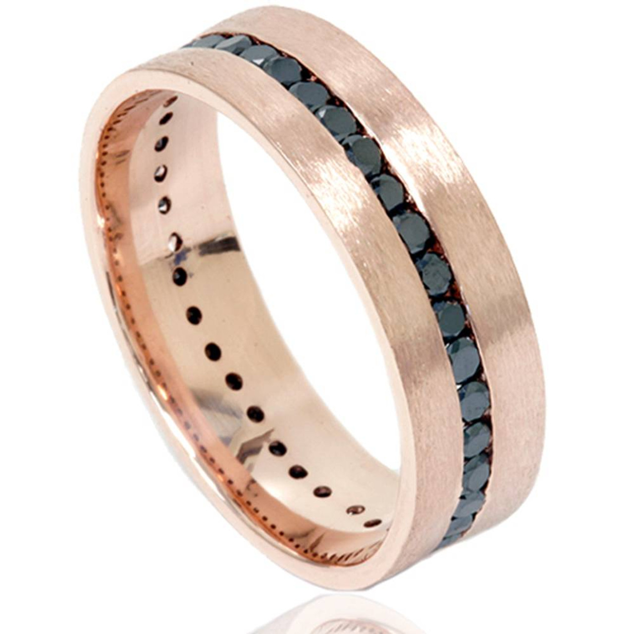 1 1 10ct Channel Set Black Diamond Brushed Ring 14k Rose Gold Mens
