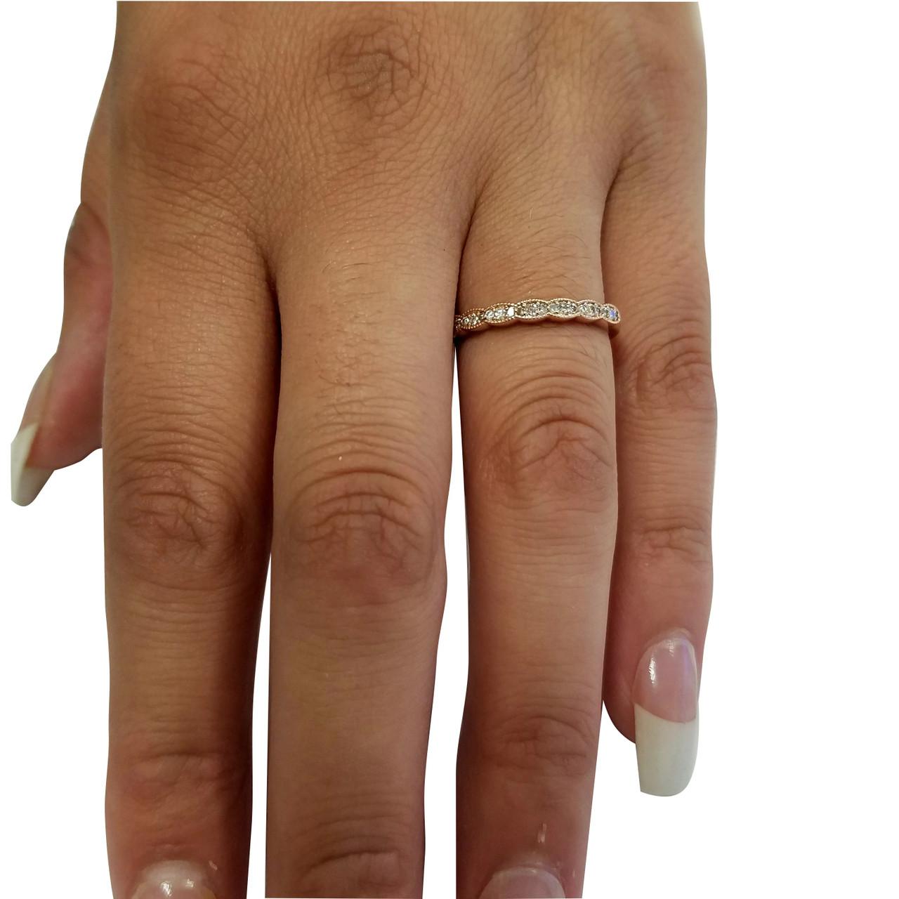 15 cttw Diamond Stackable Womens Wedding Ring 14k Rose Gold