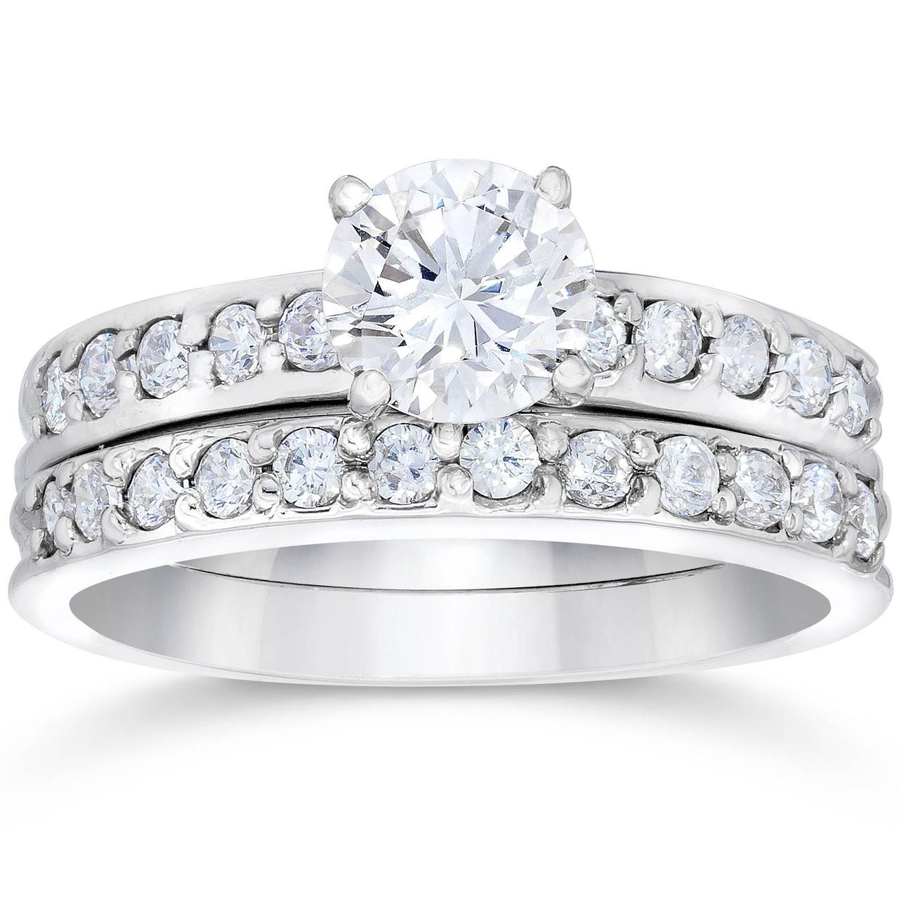 1 Carat Diamond Engagement Ring Matching Wedding Band Prong Set 14k